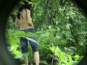 pee flows out of teen brunette 1
